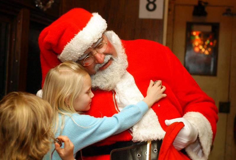 Santa w Girl in PJs